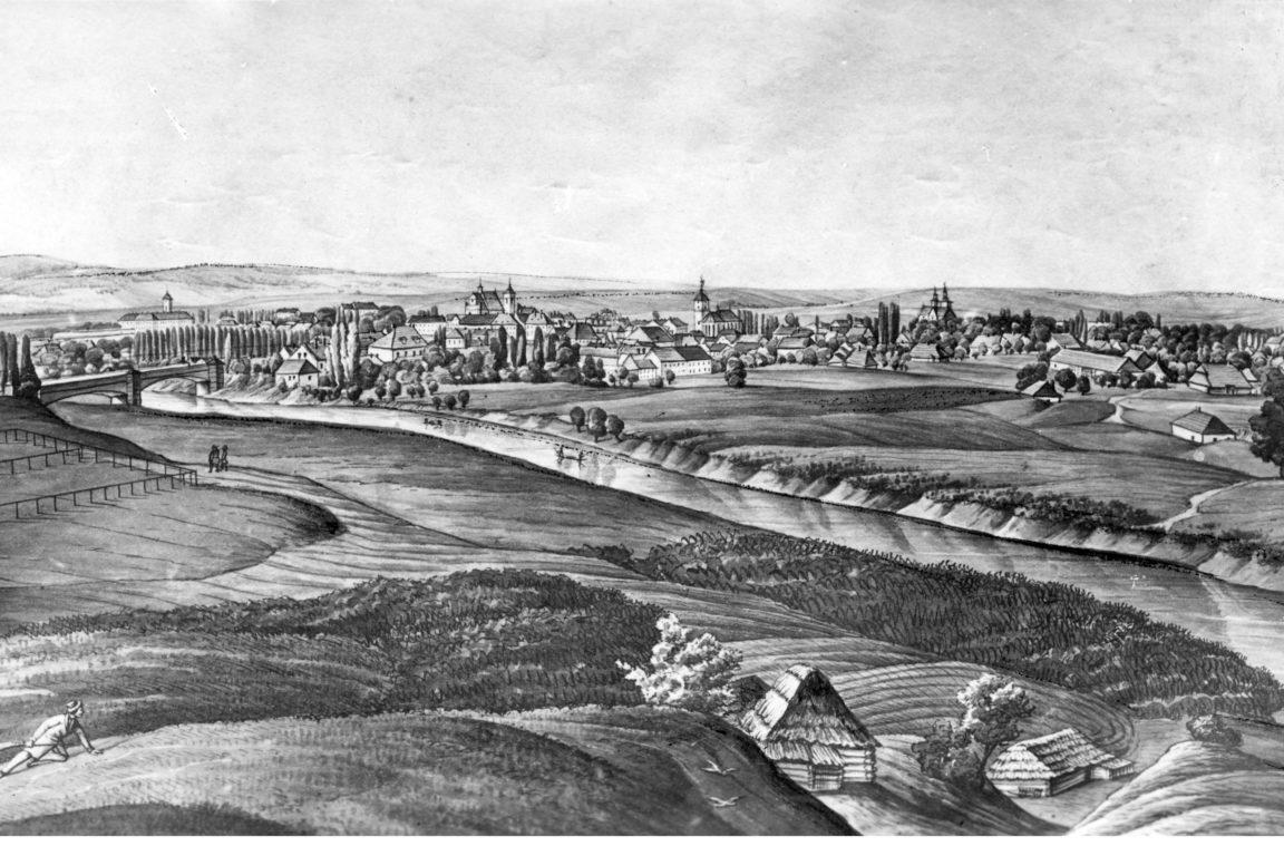 Grafika z XIX wieku przedstawiająca panoramę Rzeszowa